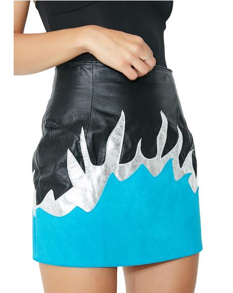 Blue Flame Mini Skirt