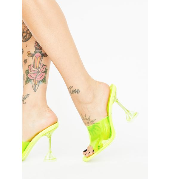 Lime Ur Clearly Into Me PVC Heels