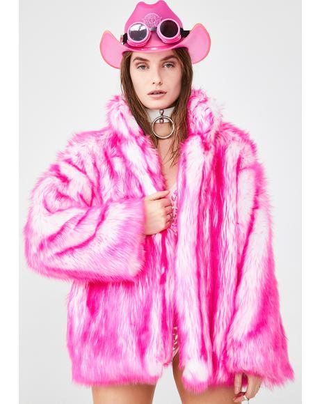 Bubblegum Hip-Length Faux Fur Coat