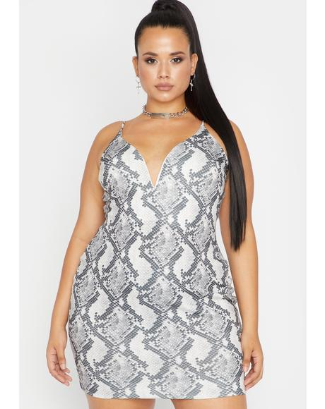 Her Ice Cold Heart Snakeskin Dress