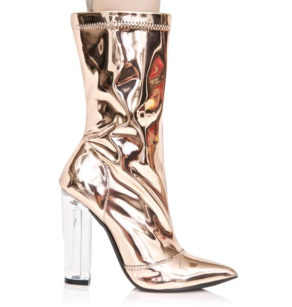 Golden Space Age Metallic Boots