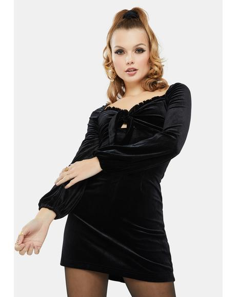 Black Balloon Sleeve Velvet Mini Dress