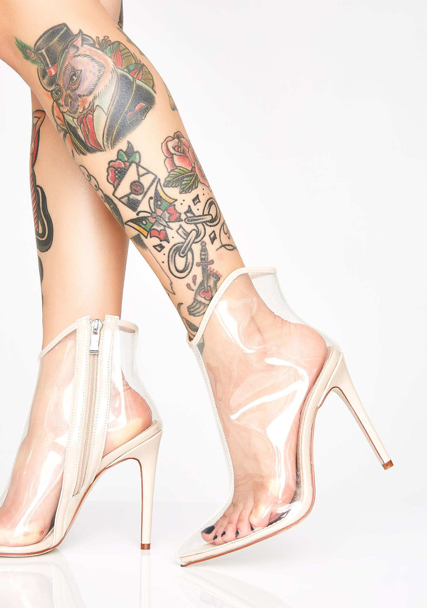 Champagne Meet The Plastics Clear Booties