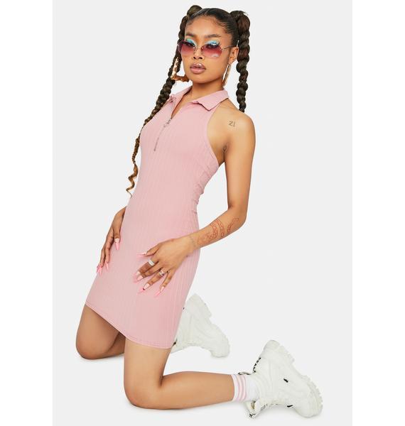 Mauve On The Go Ribbed Halter Dress