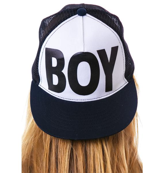 BOY London BOY Flat Bill Cotton Trucker Cap