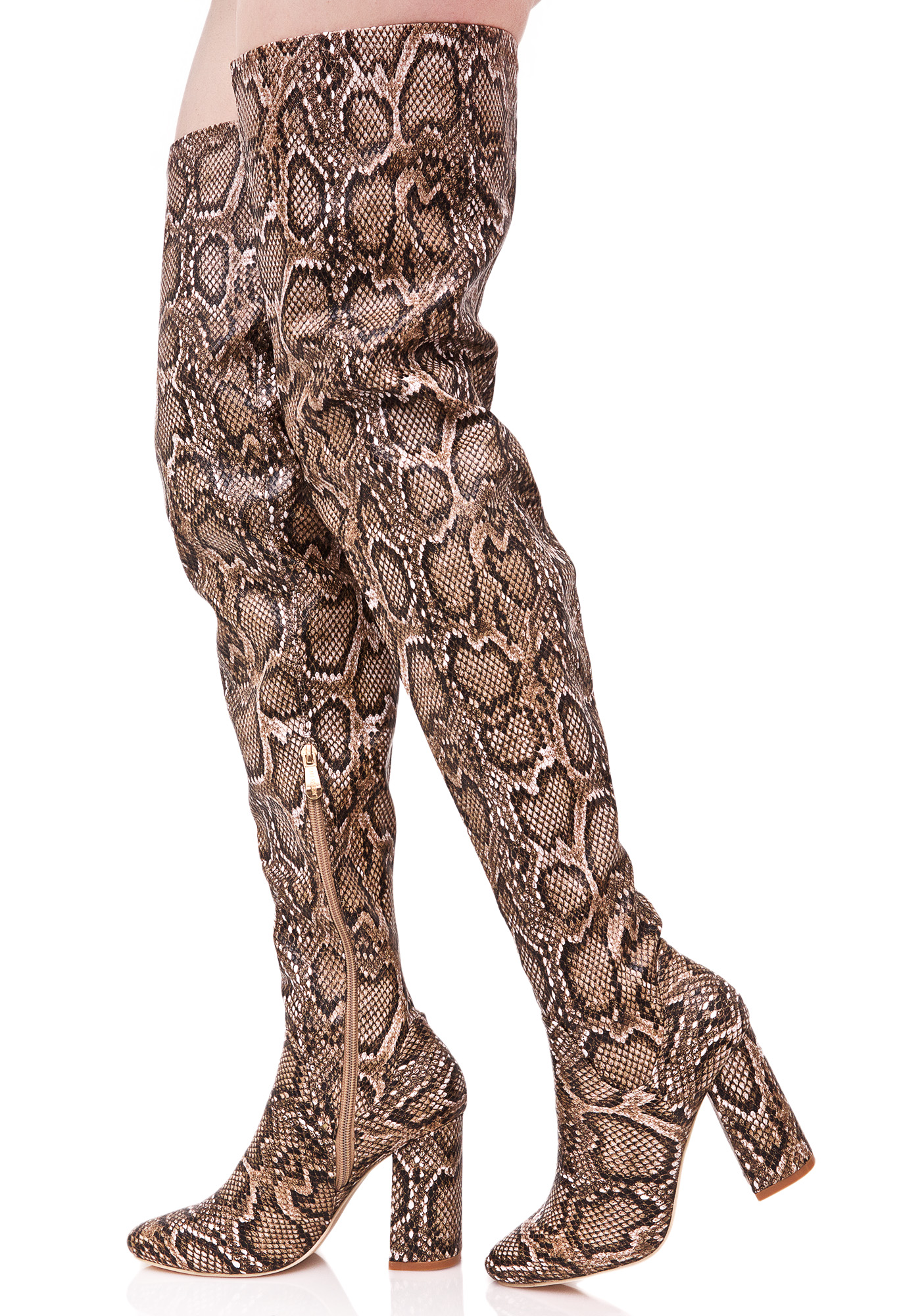 Brown Snakeskin Thigh High Boots