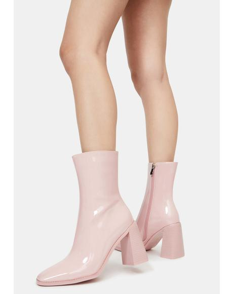 Pink Patent Belle Heeled Boots