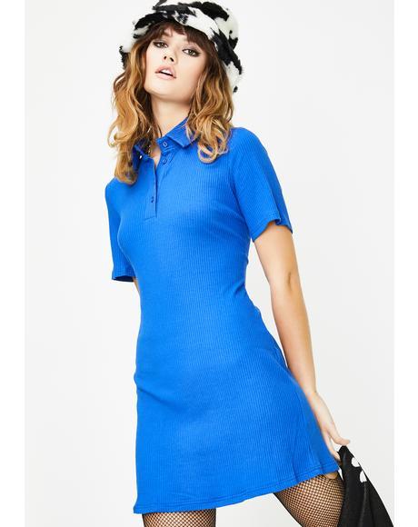 Ribbed Collared Mini Dress