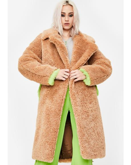 Green Fur Trim Teddy Coat