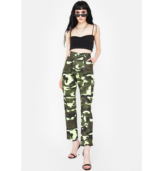 Daisy Street Neon Green Camo Cargo Pants
