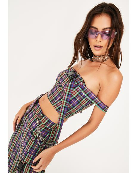Clash Plaid Crop Top