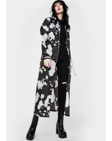 Black Drip Maxi Raincoat