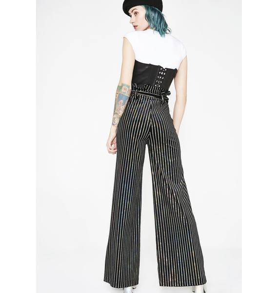 Jaded London Sequin Stripe Velvet Wide Leg Trousers