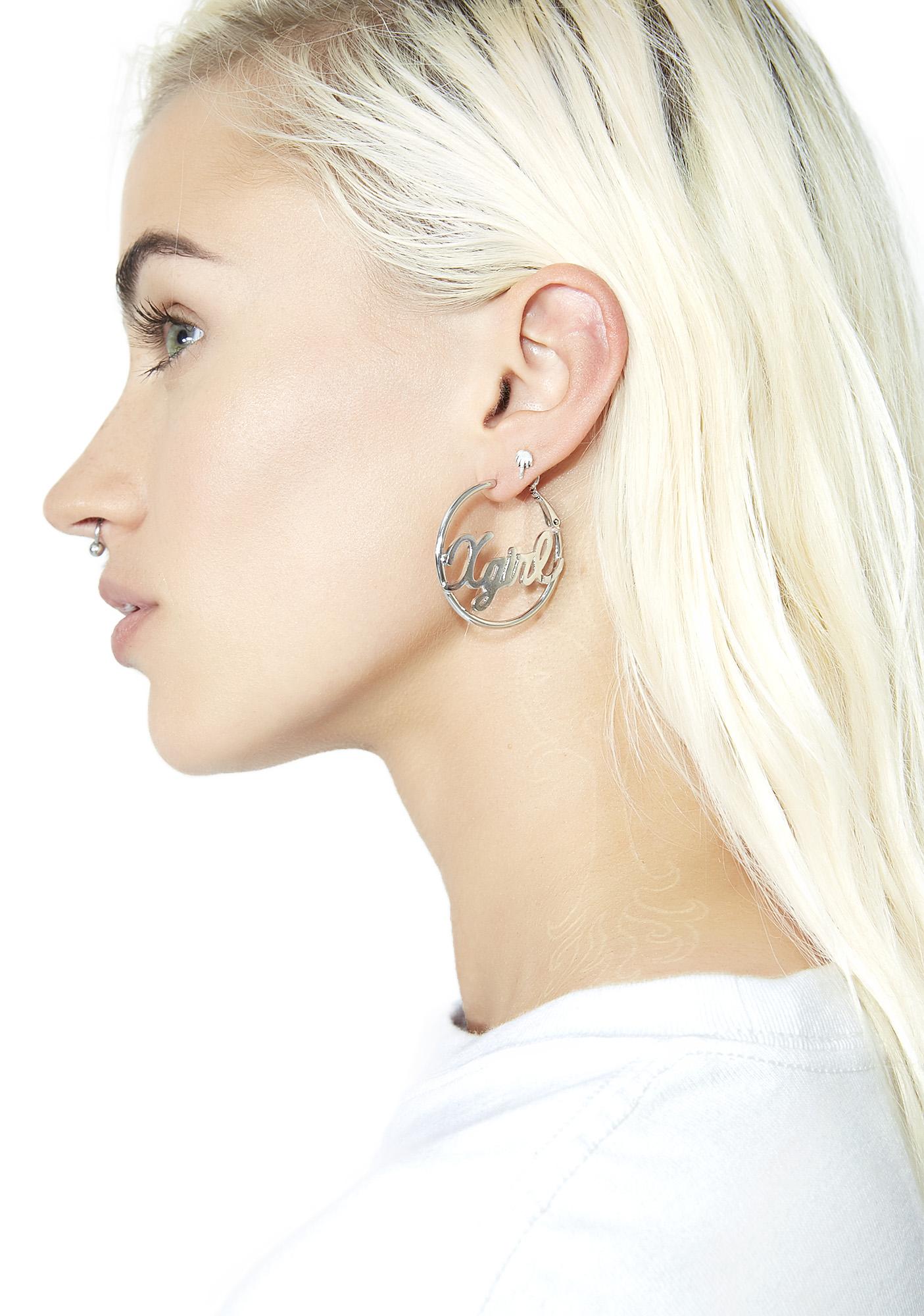 x-Girl Logo Hoop Earrings