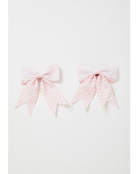 Pretty Party Gingham Bow Set