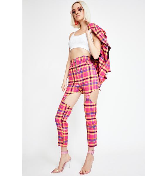 Strange Couture Candy Tartan Cut-Out Detachable Pants
