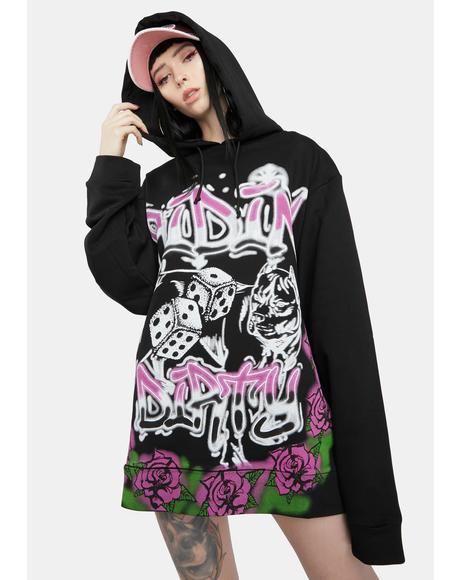 Ridin' Dirty Graffiti Print Oversized Hoodie