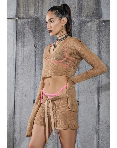 Snare Tan Sheer Knit Shorts
