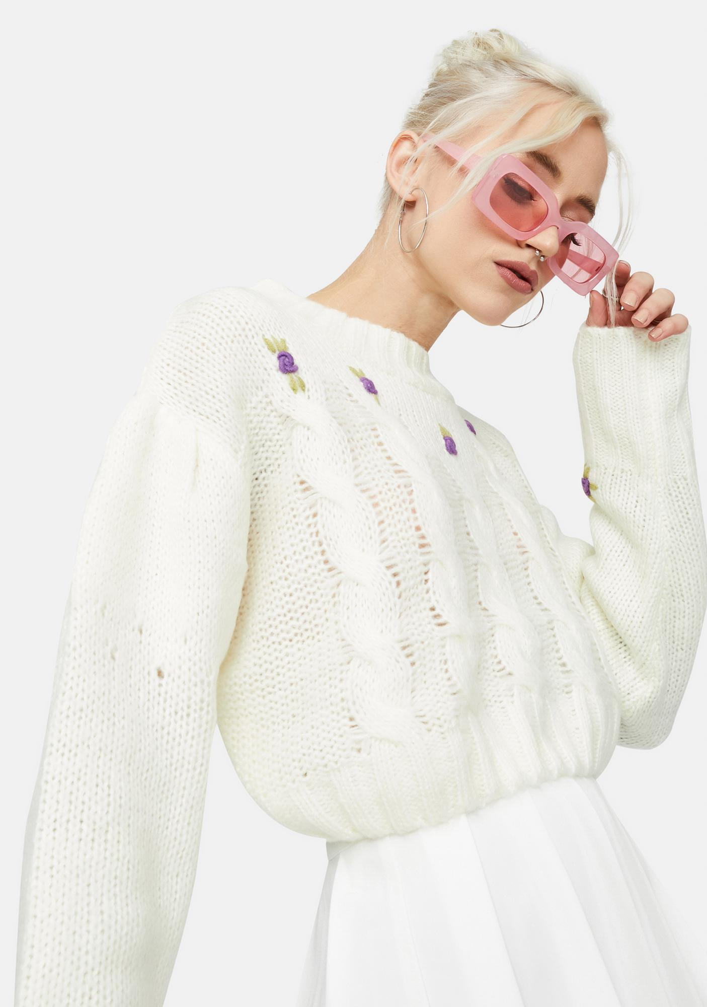 Purely The Real Thing Rosette Cableknit Sweater