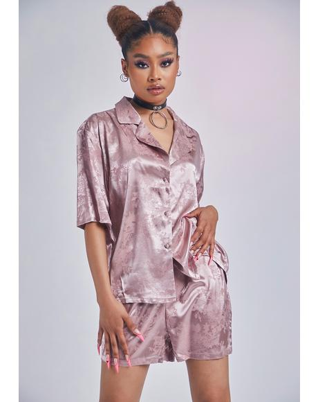 Mauve All About Comfort Satin Pajamas Set