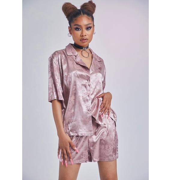 Mauve All About Comfort Satin Pajamas Set