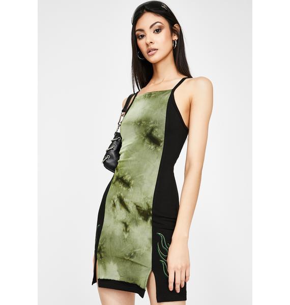GANGYOUNG Dark Green Poison Bodycon Dress