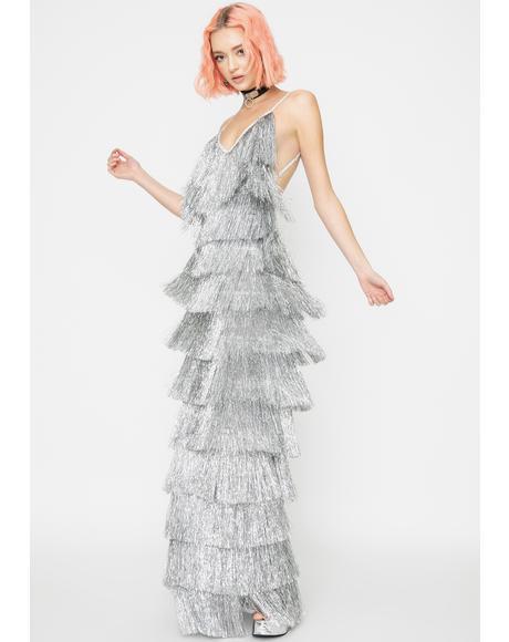 Platinum Death Drop Fringe Dress