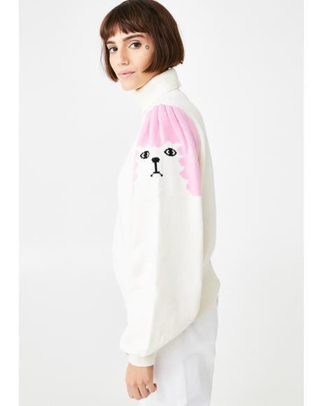 Poodle Puff Sleeve Knitted Jumper