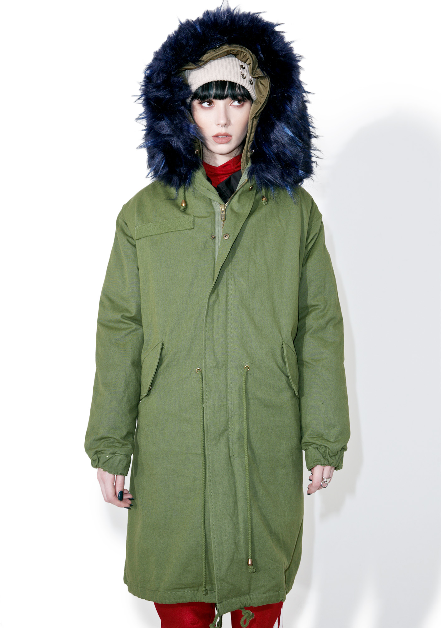 Green Parka Jacket with Blue Fur