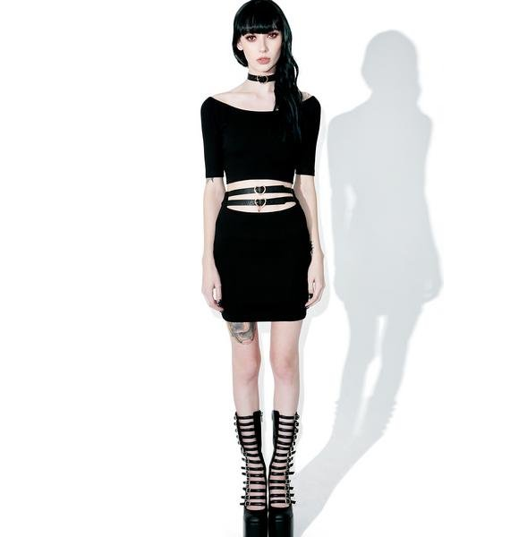 one spo Heart Belt Mini Skirt