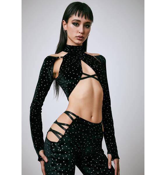 Current Mood Shifting Gears Wrap Crop Top