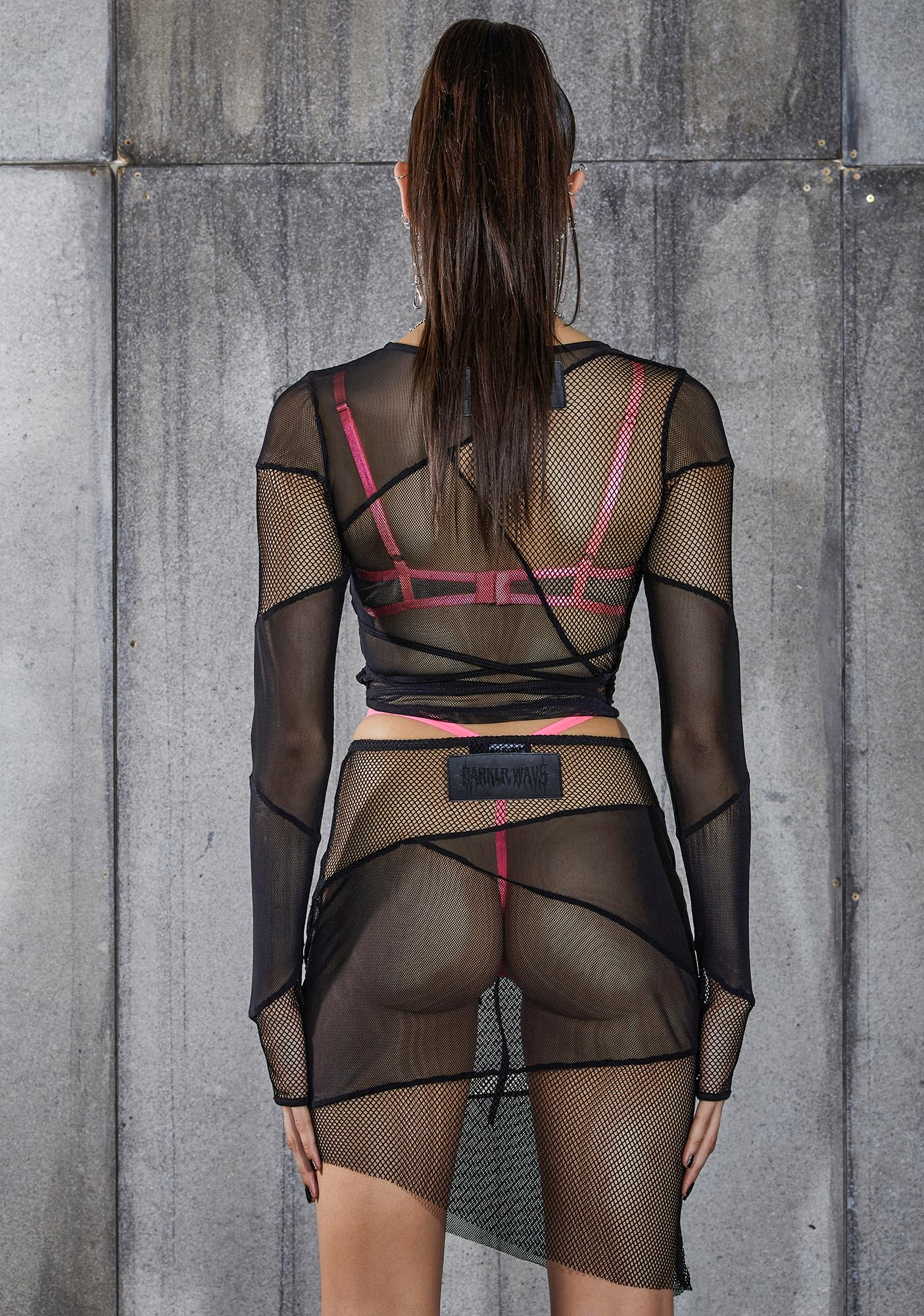 DARKER WAVS Snare Fishnet And Mesh Patchwork Skirt