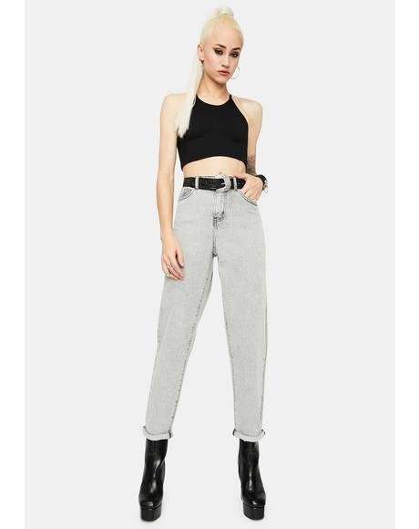 Bleached Light Grey High Waist Jeans