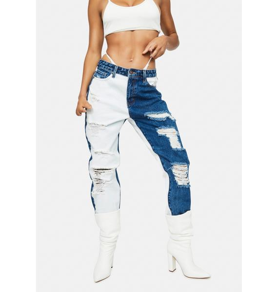 Wave Out Of Town Two Tone Boyfriend Jeans