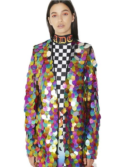 Rainbow Sequin Maxi Kimono
