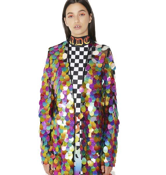 Jaded London Rainbow Sequin Maxi Kimono