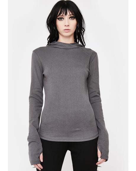 Grey Base Hooded Long Sleeve Tee