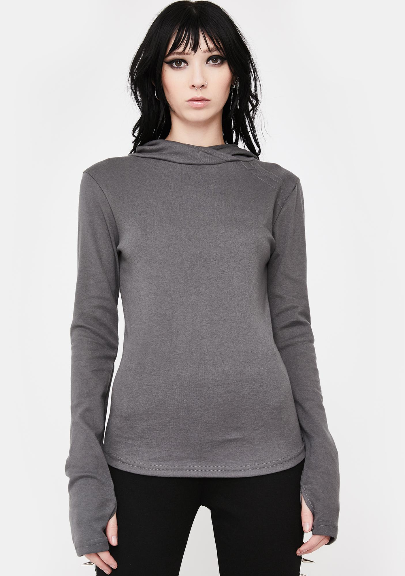 NOCTEX Grey Base Hooded Long Sleeve Tee