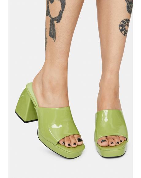 Lime Patent Oreo Open Toe Mules