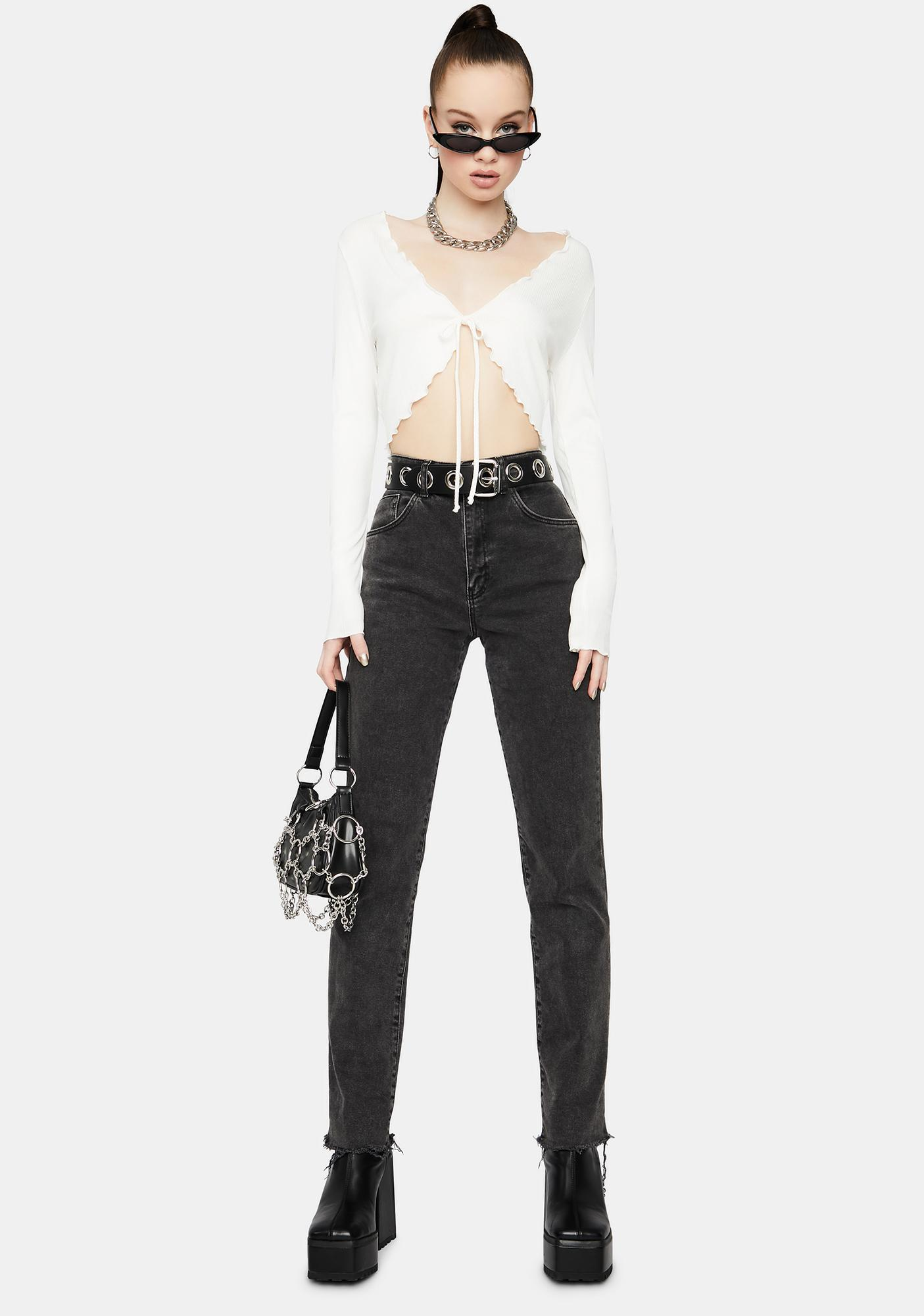 Chill On And Poppin' Tie Front Crop Top