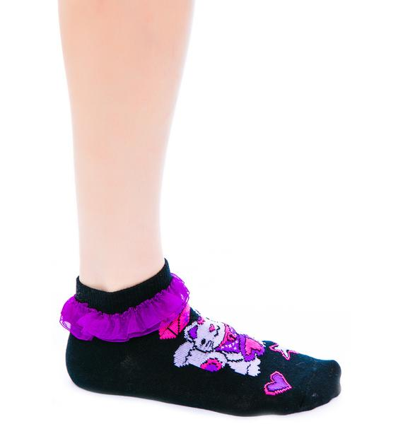 Too Fast Lucky Cat Ruffle Ankle Sock