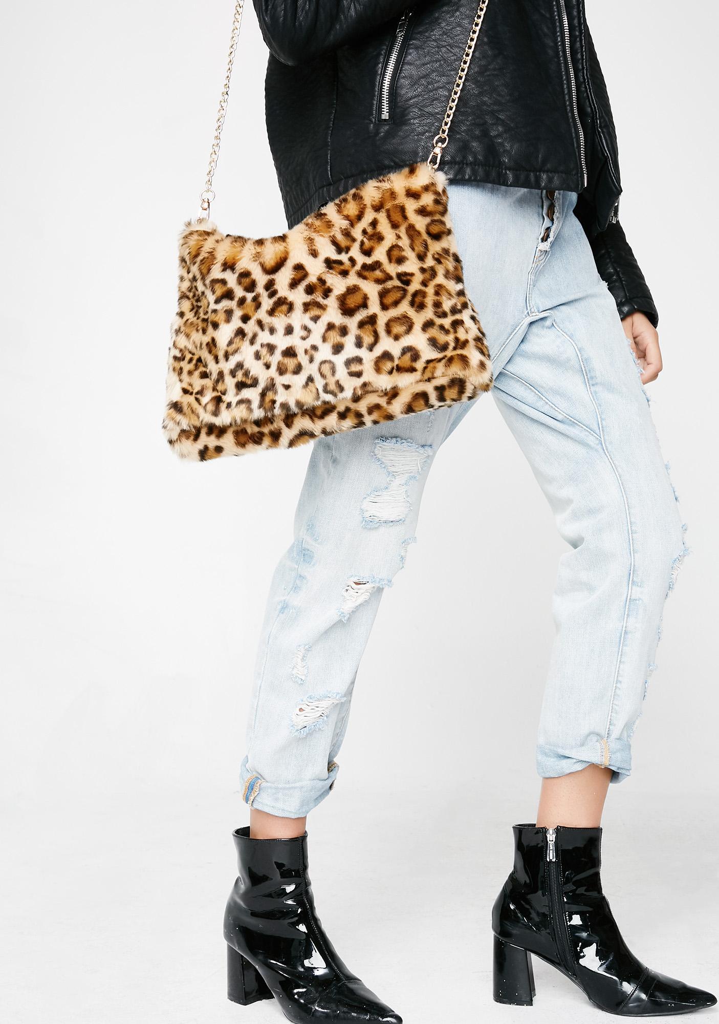 Faux Fur Leopard Rectangle Crossbody   Dolls Kill 4c6c886660