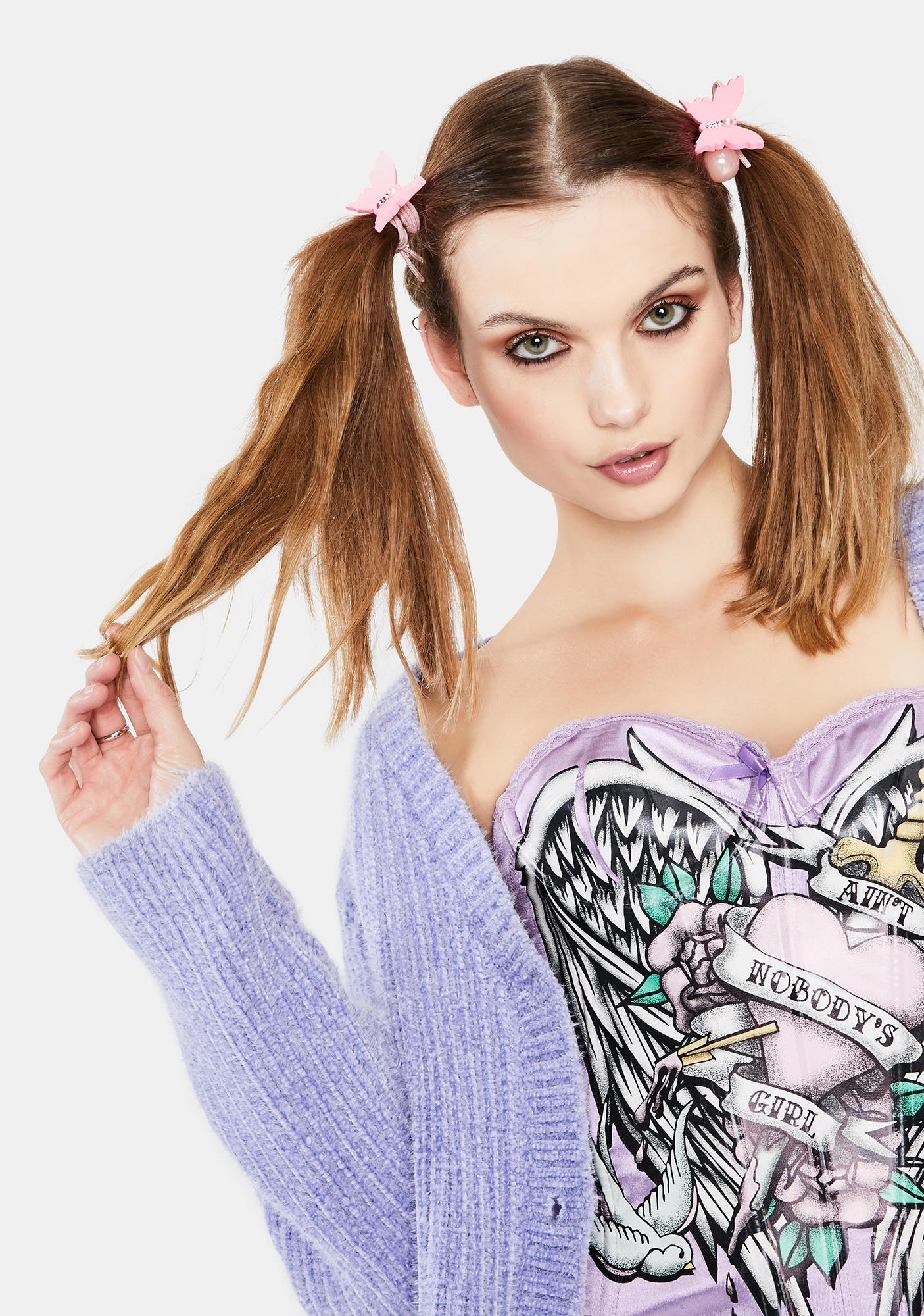 Lady Butterfly Baubles Rhinestone 2 Piece Hairtie Set
