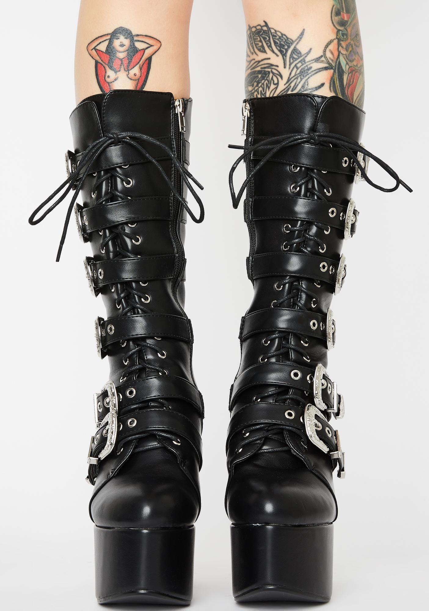 Lamoda Warnings Buckle Lace Up Boots