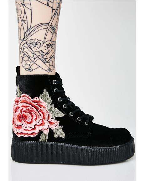 3D Rose Embroidered Velvet Mondo Boots