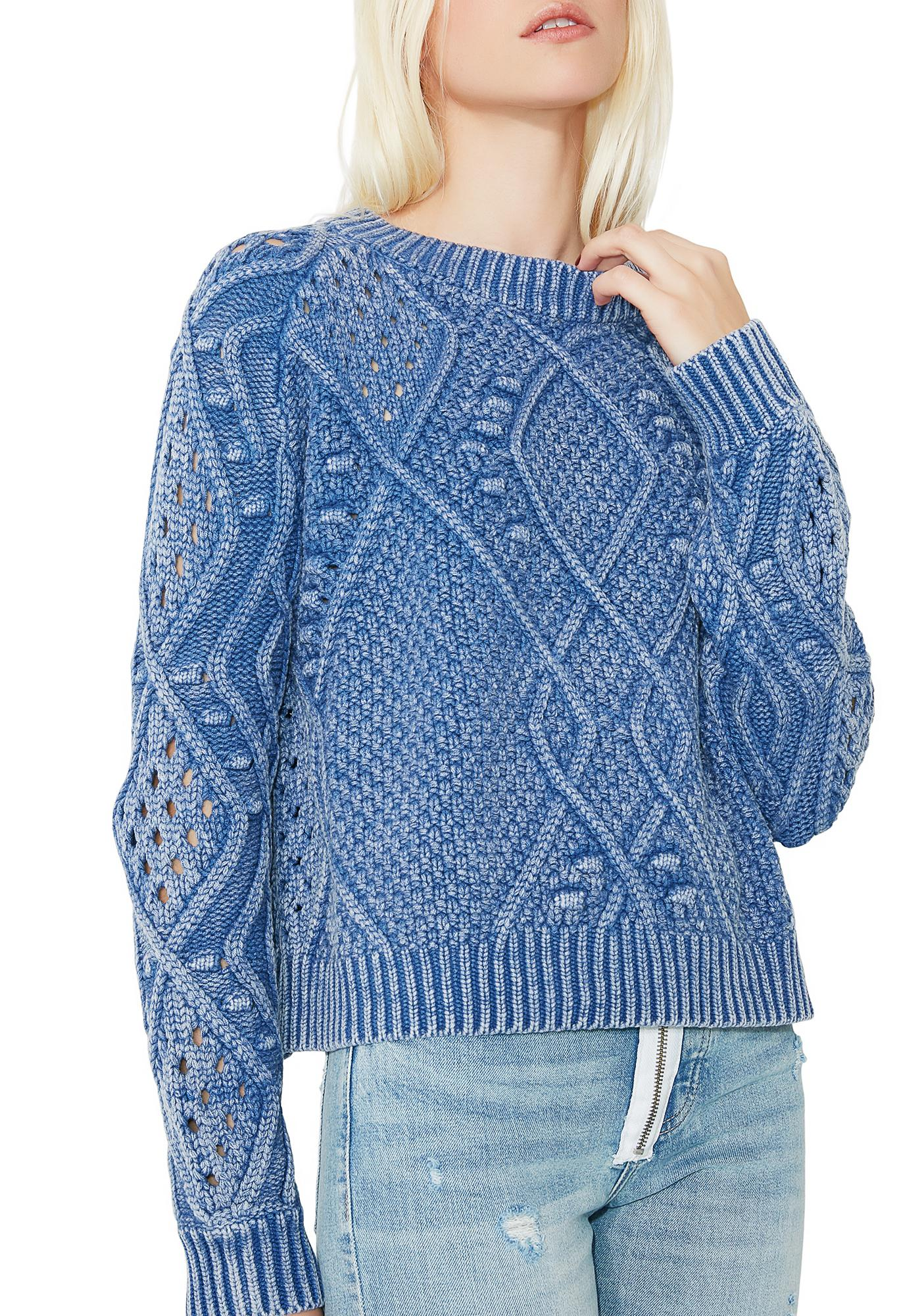 Thick Intarsia Blue Knit Sweater | Dolls Kill