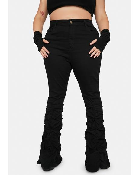 Midnight It's Not My Problem Shirred Flare Jeans