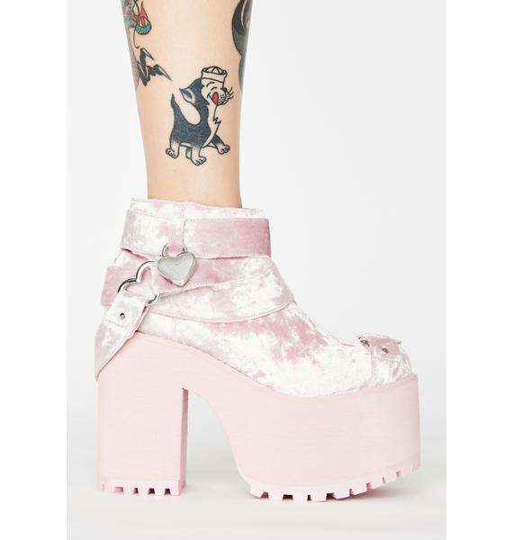 Y.R.U. Pink Velvet Cherish Heart Platform Boots