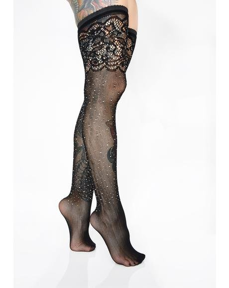 Alluring Air Rhinestone Stockings