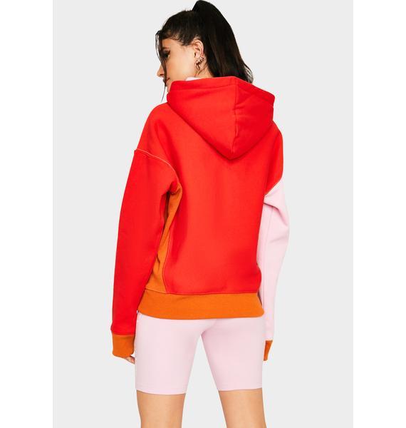 Champion Pink Colorblock Reverse Weave Half Zip Pullover